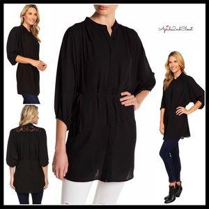 BLACK TIE WAIST TUNIC BLOUSE Crochet Lace Back Top